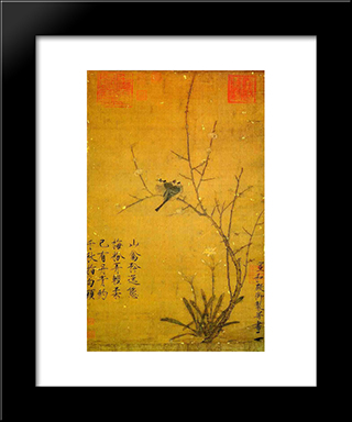 Plum And Birds: Modern Black Framed Art Print by Emperor Huizong