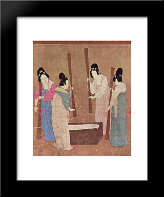 Women Preparing Silk (After Zhang Xuan): Modern Black Framed Art Print by Emperor Huizong