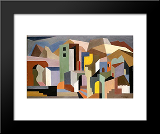 Architectural Form Of Future Ideal Landscape: Modern Black Framed Art Print by Enrico Prampolini