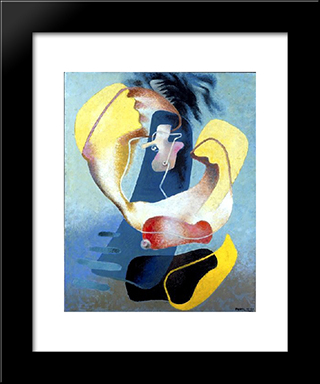 The Figure In Space: Modern Black Framed Art Print by Enrico Prampolini