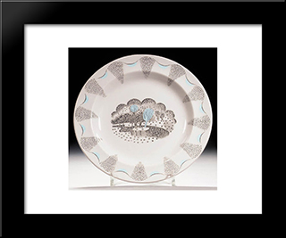 A Dinner Plate From His 'Travel' Service Designed For Wedgwood: Modern Black Framed Art Print by Eric Ravilious