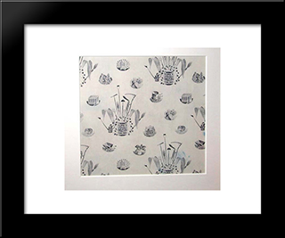 A Rare Piece Of Fabric Produced In 1958 From A Ravilious Design: Modern Black Framed Art Print by Eric Ravilious