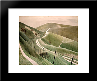 Chalk Paths: Modern Black Framed Art Print by Eric Ravilious
