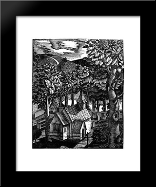 Church Under A Hill: Modern Black Framed Art Print by Eric Ravilious