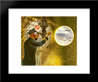 Commander Of A Submarine Looking Through A Periscope: Modern Black Framed Art Print by Eric Ravilious