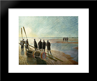 Dangerous Work At Low Tide: Modern Black Framed Art Print by Eric Ravilious