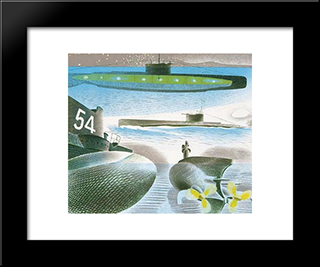 Different Aspects Of Submarines: Modern Black Framed Art Print by Eric Ravilious
