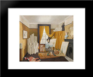 Edward Bawden Working In His Studio: Modern Black Framed Art Print by Eric Ravilious