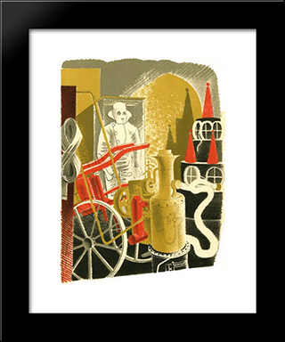 Fire Engineer: Modern Black Framed Art Print by Eric Ravilious