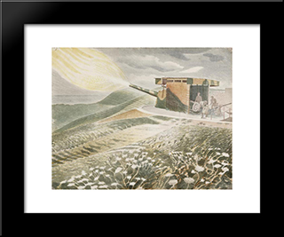 Firing A 9.2 Gun: Modern Black Framed Art Print by Eric Ravilious