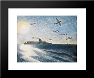 Hms Glorious In The Arctic: Modern Black Framed Art Print by Eric Ravilious