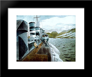 Leaving Scapa Flow: Modern Black Framed Art Print by Eric Ravilious