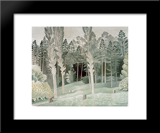 Lombardy Poplars: Modern Black Framed Art Print by Eric Ravilious