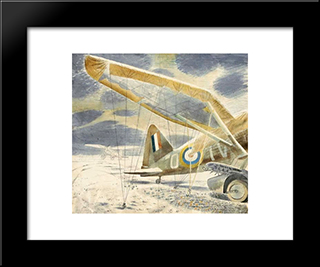 Lysanders In The Snow: Modern Black Framed Art Print by Eric Ravilious