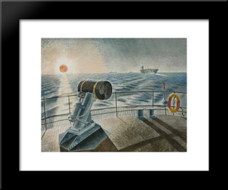 Midnight Sun: Modern Black Framed Art Print by Eric Ravilious