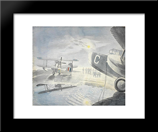 Morning On The Tarmac: Modern Black Framed Art Print by Eric Ravilious