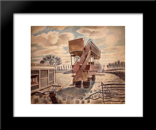 No. 29 Bus: Modern Black Framed Art Print by Eric Ravilious
