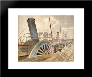 Paddle Steamer Britannie - Bristol Quay: Modern Black Framed Art Print by Eric Ravilious