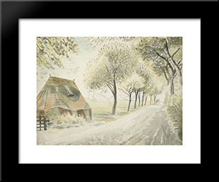 Road By An Airfield: Modern Black Framed Art Print by Eric Ravilious