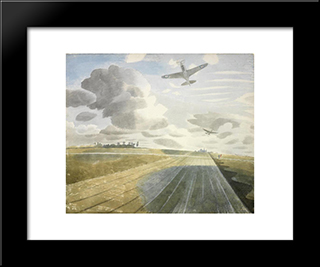 Runway Perspective: Modern Black Framed Art Print by Eric Ravilious