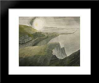 Shelling By Night: Modern Black Framed Art Print by Eric Ravilious