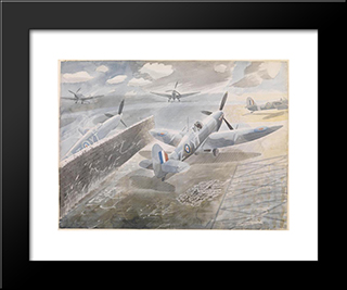 Spitfires At Sawbridgeworth, Herts 1942: Modern Black Framed Art Print by Eric Ravilious