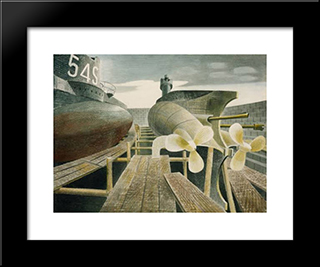 Submarines In Dry Dock: Modern Black Framed Art Print by Eric Ravilious