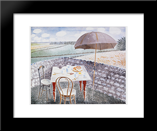 Tea At Furlongs: Modern Black Framed Art Print by Eric Ravilious