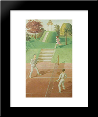 Tennis (Triptych, Centre Panel): Modern Black Framed Art Print by Eric Ravilious