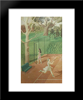 Tennis (Triptych, Left Wing): Modern Black Framed Art Print by Eric Ravilious