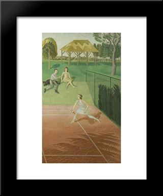 Tennis (Triptych, Right Wing): Modern Black Framed Art Print by Eric Ravilious