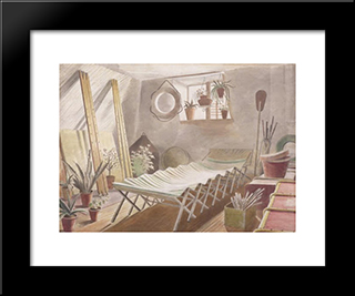 The Attic Bedroom: Modern Black Framed Art Print by Eric Ravilious