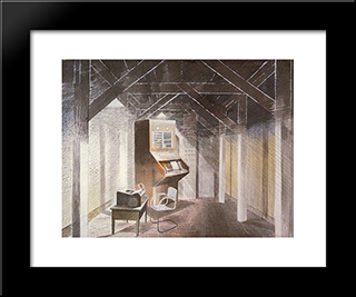 The Teleprinter Room: Modern Black Framed Art Print by Eric Ravilious