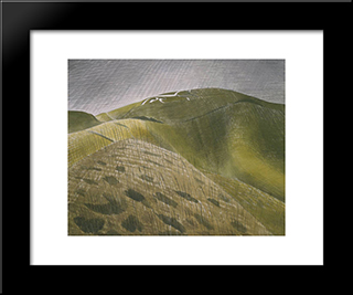 The Vale Of The White Horse: Modern Black Framed Art Print by Eric Ravilious