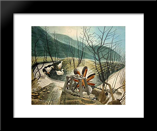 The Water Wheel: Modern Black Framed Art Print by Eric Ravilious