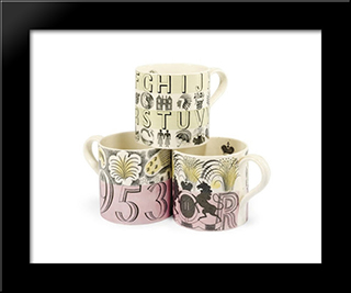 Three Mugs Designed For Wedgwood: Modern Black Framed Art Print by Eric Ravilious