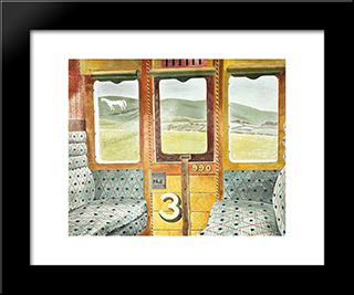 Train Landscape: Modern Black Framed Art Print by Eric Ravilious