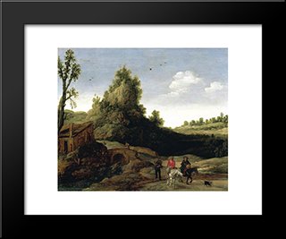 A Landscape With Travellers Crossing A Bridge Before A Small Dwelling: Modern Black Framed Art Print by Esaias van de Velde