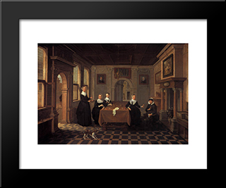 Five Ladies In An Interior.010 Alternate Title(S)0 A Company In An Interior.020: Modern Black Framed Art Print by Esaias van de Velde