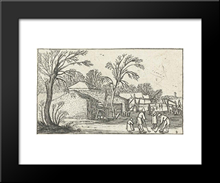 Flask Skaters And Players On The Ice In The Farmyards: Modern Black Framed Art Print by Esaias van de Velde
