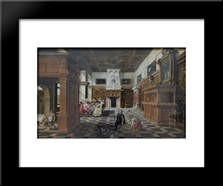 Hall With The Parable Of Lazarus And The Rich Man (Luke 16, 19 21): Modern Black Framed Art Print by Esaias van de Velde