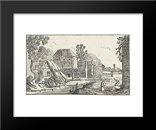Landscape With Farmhouse And Barn On Stilts At A Water: Modern Black Framed Art Print by Esaias van de Velde