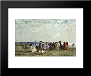 Bathers On The Beach At Trouville: Modern Black Framed Art Print by Eugene Boudin