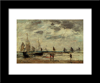 Berck, Jetty And Sailing Boats At Low Tide: Modern Black Framed Art Print by Eugene Boudin
