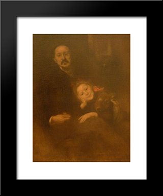 Gabriel Seailles Et Sa Fille: Modern Black Framed Art Print by Eugene Carriere