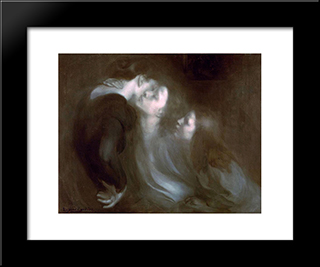 Her Mother'S Kiss: Modern Black Framed Art Print by Eugene Carriere