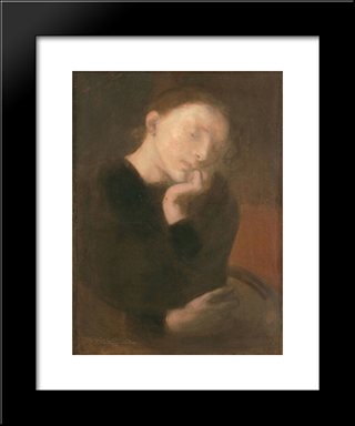 Meditation: Modern Black Framed Art Print by Eugene Carriere