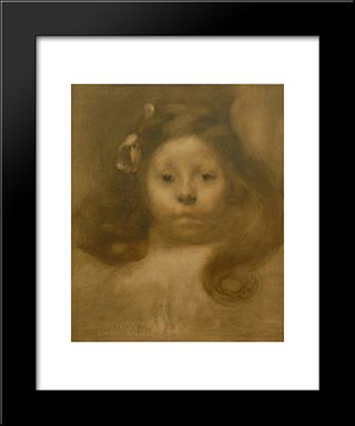 Portrait D'Elisabeth, Fille D'Elie Faure: Modern Black Framed Art Print by Eugene Carriere