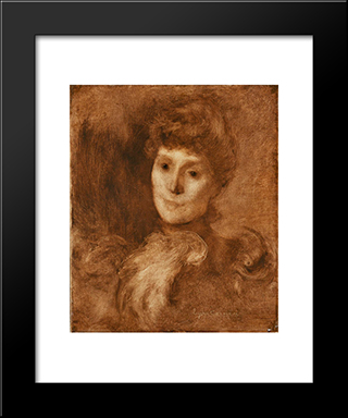 Portrait Of A Woman (Possibly Madame Keyser): Modern Black Framed Art Print by Eugene Carriere