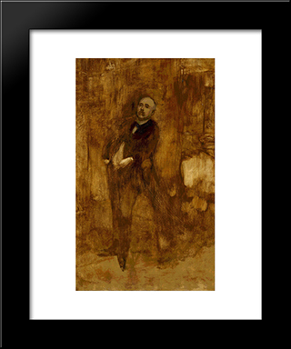 Portrait Of Clemenceau: Modern Black Framed Art Print by Eugene Carriere